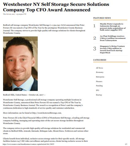 Westchester CFO Honor
